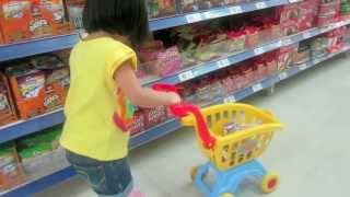 Baby Doing Grocery Shopping -Mini Shopping Cart